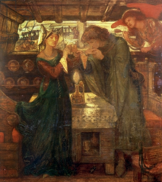 CEC128164 Tristram and Isolde Drinking the Love Potion, 1867 (mixed media) by Rossetti, Dante Gabriel Charles  (1828-82); 62.3x59.1 cm; The Higgins Art Gallery & Museum, Bedford, UK; (add.info.: intended for Isolde the Fair and King Mark of Cornwall;); English,  out of copyright